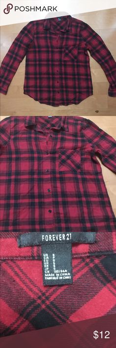 forever 21 Plaid Button Down Top Red And Black Very cute plaid red and black forever 21 button down top. Very good used condition  smoke free home Forever 21 Tops Button Down Shirts