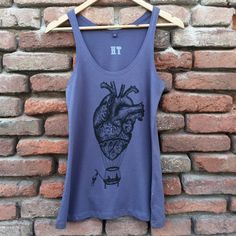 Women's violet tank top, anatomical heart hotairballoon vintage tattoo style print