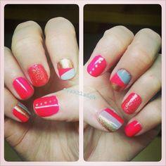 Neon Pink + Gold + Gray + Glitter Geometric + Dots + Stripes Nail Art