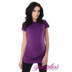 Pregnancy T-Shirt 5025 Violet  Soft material fits all type of figures. Short sleeves. Ruching on both sides creating lots of space for growing bump. Functional and comfortable, can be worn during and after pregnancy. This top is not only functional, it looks great as well.