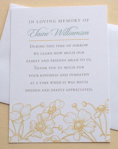 Let me create a custom thank you sympathy card for you. The last thing on your mind when grieving is remembering to send out a thank you note to those who are there for you during that difficult time. Memorial Cards For Funeral, Funeral Thank You Cards, Business Thank You Cards, Thank You Messages, Thank You Notes, Words For Sympathy Card, Sympathy Verses, Funeral Planning, Funeral Ideas