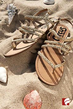 Life's a beach in golden gladiators. Braiding detail will set you apart on the sand while the metallic color acts as a neutral for everyday wear.