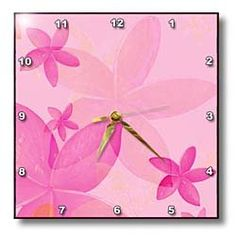 """Yves Creations Abstract - Pink and Peach Flowers - Wall Clocks        Dimensions: 10"""" H x 10"""" W x 1/16"""" D     High gloss mirror like finish, UV coated, scratch resistant aluminum; suitable for moist environment     Silent quartz mechanism     Gold colored hour, minute and second hands     Numbers are printed as part of the image"""