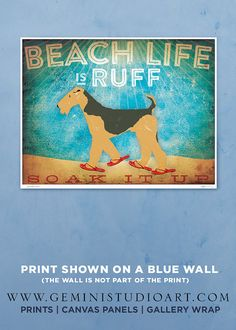 Etsy の Beach life is Ruff Airedale Terrier dog by geministudio, $25.00