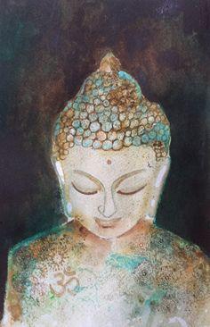 Boedha aquarel-buddha watercolor-origineel-zen-art-kunst