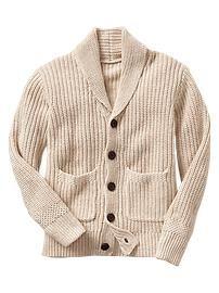 Ribbed shawl cardigan