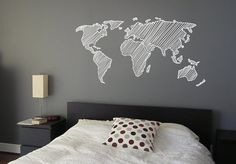 Sketch map of the world decal wares decor van WorldMaps op Etsy