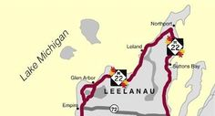 M-22 Color Tour Maps for Benzie, Manistee and Sleeping Bear Dunes.  MAP