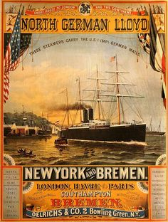 New York and Bremen vintage travel poster von stickart-marek Tourism Poster, Poster Ads, Travel Ads, Cruise Travel, Bus Travel, Travel Photos, Vintage Boats, Photo Vintage, Ship Art
