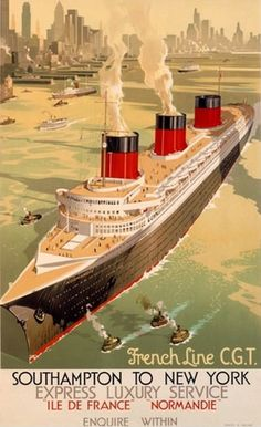 French Line CGT Oceanliners Ile De France