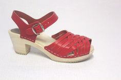 Swedish Clog  Wooden Sandals Clog Open Toe Leather Red Thom Brown Size 36…