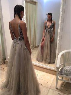 Illusion Evening Dress,Sexy Deep V Neck Prom Dress,Grey Tulle Prom Dress,Sleeveless Formal Dress,Slit Side Prom Dress by DRESS, $189.00 USD