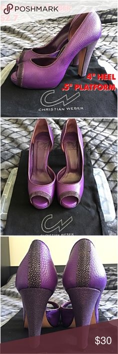 """Purple leather stingray Dorsay heels peep toe 7 Christian Weber sz 7 a short lived but very highline designer brand.  These shoes feature stingray, beautiful purple leather & are great for slightly wide feet.  Sexy for work or play! 4"""" heel & .5"""" platform **paying off debt & saving for a wedding! My old retail habits are your great deal!  Bundle for more savings Christian Weber Shoes Heels"""