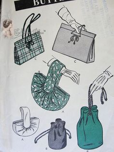 1940s Beautiful Set of Hand Bags Purse Pattern Three Dazzling Styles Butterick 3536 Vintage Sewing Pattern