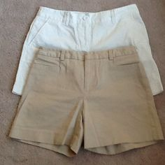 Bundle of 2 shorts in beige and white - size 2 White Ann Taylor loft shorts in size 2 with 6 inch inseam and khaki limited stretch shorts in size 4 (fits like 2) with 4.5 inseam....ready for summer! Ann Taylor Shorts