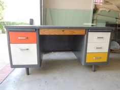 Mid Century Modern Tanker Desk with MultiColored Drawers Los Angeles by HouseCandyLA, $599.00