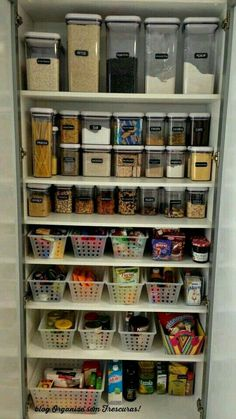Uniform containers in different sizes and baskets to organize the pantry & 20 Best Pantry Organizers | Good Info! | Pinterest | Kitchen ...