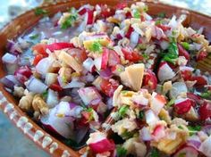 Peruvian Ceviche - Peruvian Recipes Wiki Best Fish Recipes, Seafood Recipes, Favorite Recipes, Cooking Recipes, Tostadas, Peruvian Ceviche, Shrimp Ceviche, Carpaccio, Local Seafood