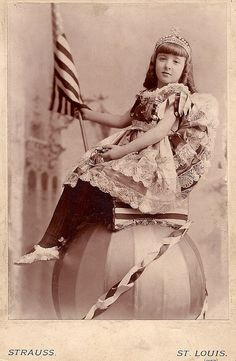 """Ethelyn Marguerite Hinson at the 1893 Chicago World's Fair    My great aunt Ethelyn Hinson at the Chicago World's Fair of 1893 when she was nine. I don't know if you stood in line to get your photo taken on this ball or what."""
