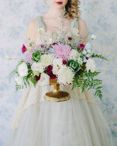 Gorgeous green ,white, pink and blue bouquet #gold