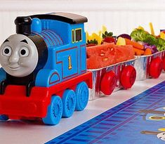 unique food trays for boy party   Thomas The Tank Engine Party Guide