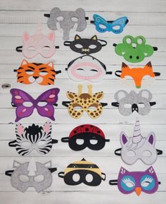 Animal Masks For Children Party Favor Zoo Safari Party Dress Up- Lot option - mask making Party Animals, Animal Party, Felt Animals, Animal Masks For Kids, Mask For Kids, Safari Party, Felt Diy, Felt Crafts, Sewing Crafts