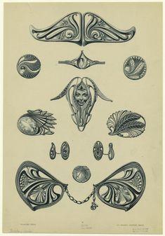 Bijoux modernes - from a series of Art Nouveau designs by Rene Beauclair Motifs Art Nouveau, Motif Art Deco, Bijoux Art Nouveau, Art Nouveau Design, Art Nouveau Jewelry, Design Art, Jugendstil Design, Jewelry Design Drawing, Jewelry Illustration