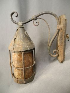 Wrought Iron Arts Crafts Mission Light Sconce Mica Shade