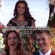 Haley James Scott. Peyton Sawyer. Lucas Scott. One Tree Hill. Bethany Joy Lenz. Hilarie Burton. Chad Michael Murray. OTH.