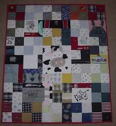 Memory Quilt. I wish I had saved all the boys' baby clothes and made each of them a quilt!