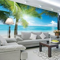Coconut tree Beach Photo Wallpaper Custom 3D Wall Murals Ocean Sunshine wallpaper Boys Kids Bedroom Personalized Interior Design Room decor