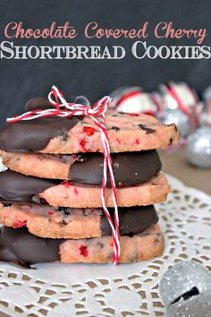 Chocolate covered cherry shortbread cookies are exactly what they sound like. Crispy, shortbread cherry cookies dipped in chocolate.