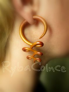 Fake ear gauges  Faux gauges /Gauge earrings /spiral by RybaColnce, $21.39