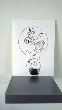 """Affiche Illustration Noir et blanc ampoule """" l'envol de la douceur """" : Dessins par stefe-reve-en-feutrine"""