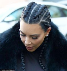Kim Kardashian, pictured on February 19 in Beverly Hills, sported the boxer braid this wee...