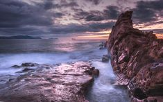 Download wallpapers Azcori beach, early morning, sunrise, clouds, Bay of Biscay, Atlantic Ocean, Playa de Aizkorri, Bilbao, Spain
