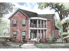 The Spring Place Southern Home has 4 bedrooms, 2 full baths and 1 half bath. See amenities for Plan 055D-0536.