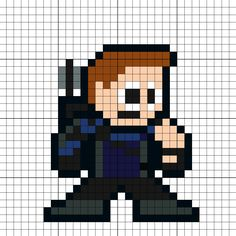 Hawkeye Civil War Perler Bead Pattern - Visit to grab an amazing super hero shirt now on sale! Melty Bead Patterns, Beading Patterns, Patchwork Patterns, Cross Stitch Patterns, Melted Bead Crafts, Super Hero Shirts, Cool Pixel Art, Stitch Character, Melting Beads