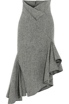 MONSE Asymmetric herringbone wool midi skirt