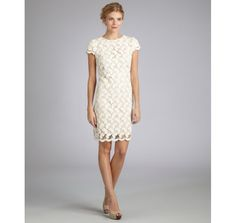 Suzi Chin ivory cotton blend cap sleeve scoop neck lace shift dress | BLUEFLY up to 70% off designer brands