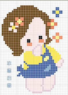 ponto cruz graficos menina - Buscar con Google
