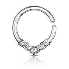 V shaped bendable cut ring steel Tragus, Septum, Piercings, Shapes, Diamond, Bracelets, Jewelry, Lotions, Steel