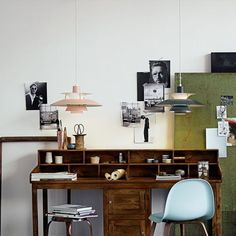 *Love* this workspace. Amazing desk, styling, and PH 5 pendants. Mini study in box room ( if room! Desk For Two, Sandblasted Glass, Study Desk, European Home Decor, Glass Diffuser, Modern Lighting, The Help, Liquor Cabinet, Ceiling Lights