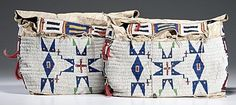 Bags (2) | Sioux Beaded Hide Geometric Design Tin Cones & Horse hair