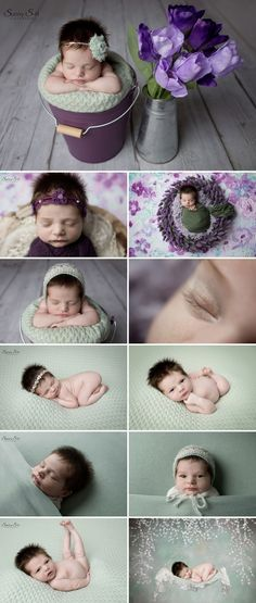 Loving this spring inspired purple and sage newborn photo shoot for 14 day old brooke