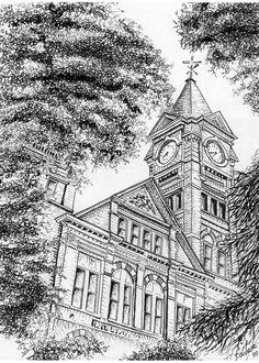 A Pen and Ink drawing of Auburn Universitys Sanford Hall. Ink Pen Drawings, Love Drawings, Pen Sketch, Sketches, Auburn University, Urban Sketching, Gravure, Art Sketchbook, Ink Art