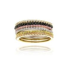 Icz Stonez Sterling Silver Stackable Cubic Zirconia Ring Band, sold individually. Nice addition to the stack