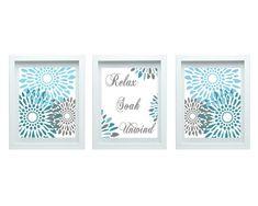 Relax Soak Unwind Modern Flower Print Flourish Design Turquoise Blue Gray Set of 3-8X10 Prints Wall Art, Bedroom Bathroom Home Decor