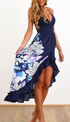 Blue Floral Print Ruffle Hem Condole Belt Plunging Neckline Sexy High-Low Dress