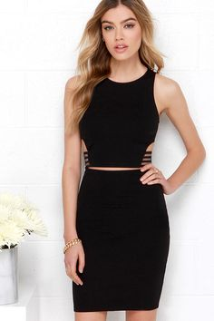 If You Catch Midriff Black Two-Piece Dress at Lulus.com!